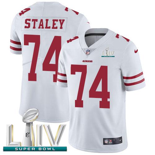 Nike 49ers #74 Joe Staley White Super Bowl LIV 2020 Men's Stitched NFL Vapor Untouchable Limited Jersey