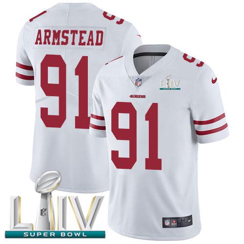 Nike 49ers #91 Arik Armstead White Super Bowl LIV 2020 Men's Stitched NFL Vapor Untouchable Limited Jersey