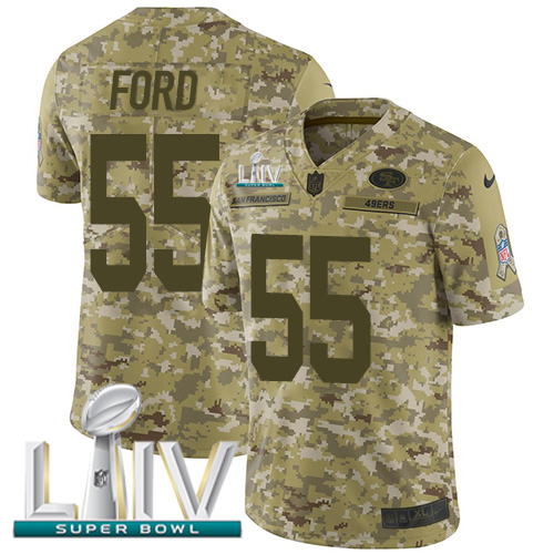 Nike 49ers #55 Dee Ford Camo Super Bowl LIV 2020 Men's Stitched NFL Limited 2018 Salute To Service Jersey