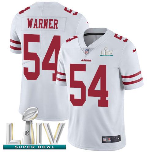 Nike 49ers #54 Fred Warner White Super Bowl LIV 2020 Men's Stitched NFL Vapor Untouchable Limited Jersey