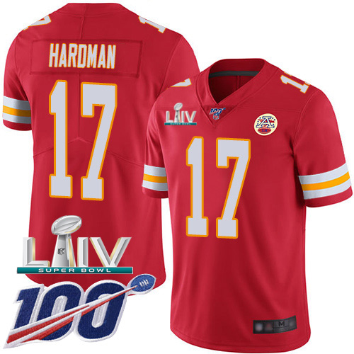 Nike Chiefs #17 Mecole Hardman Red Super Bowl LIV 2020 Team Color Men's Stitched NFL 100th Season Vapor Untouchable Limited Jersey
