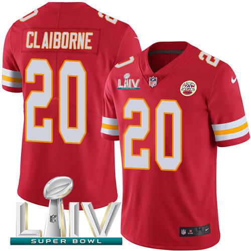 Nike Chiefs #20 Morris Claiborne Red Super Bowl LIV 2020 Team Color Men's Stitched NFL Vapor Untouchable Limited Jersey