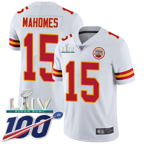Nike Chiefs #15 Patrick Mahomes White Super Bowl LIV 2020 Men's Stitched NFL 100th Season Vapor Untouchable Limited Jersey