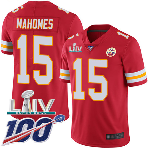 Nike Chiefs #15 Patrick Mahomes Red Super Bowl LIV 2020 Team Color Men's Stitched NFL 100th Season Vapor Untouchable Limited Jersey