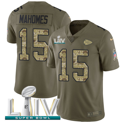 Nike Chiefs #15 Patrick Mahomes Olive Camo Super Bowl LIV 2020 Men's Stitched NFL Limited 2017 Salute To Service Jersey