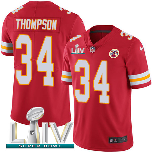 Nike Chiefs #34 Darwin Thompson Red Super Bowl LIV 2020 Team Color Men's Stitched NFL Vapor Untouchable Limited Jersey