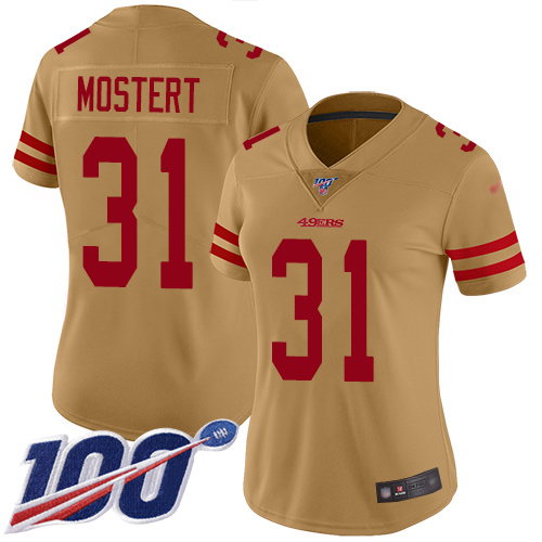 Nike 49ers #31 Raheem Mostert Gold Women's Stitched NFL Limited Inverted Legend 100th Season Jersey