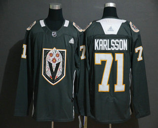 Men's Vegas Golden Knights #71 William Karlsson Gray Dia De Los Muertos Adidas Jersey