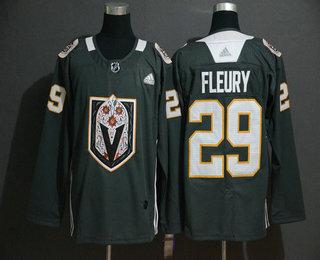 Men's Vegas Golden Knights #29 Marc-Andre Fleury Gray Dia De Los Muertos Adidas Jersey
