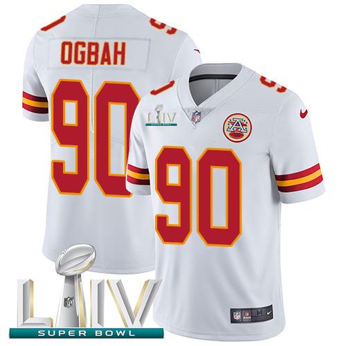Nike Chiefs #90 Emmanuel Ogbah White Super Bowl LIV 2020 Youth Stitched NFL Vapor Untouchable Limited Jersey