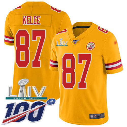 Nike Chiefs #87 Travis Kelce Gold Super Bowl LIV 2020 Youth Stitched NFL Limited Inverted Legend 100th Season Jersey