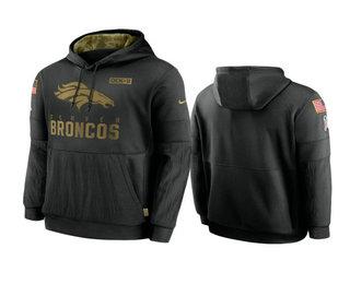 Men's Denver Broncos Black 2020 Salute to Service Sideline Performance Pullover Hoodie