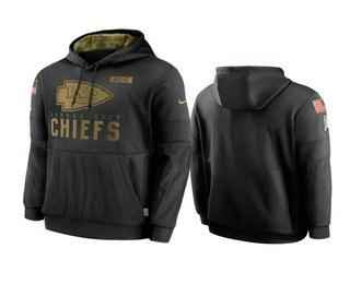 Men's Kansas City Chiefs Black 2020 Salute to Service Sideline Performance Pullover Hoodie