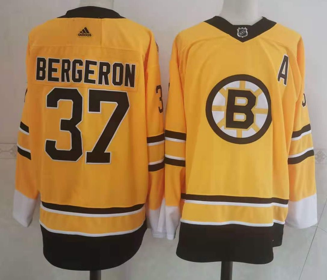 Men's Boston Bruins #37 Patrice Bergeron Yellow Adidas 2020-21 Stitched NHL Jersey