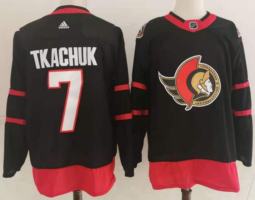 Men's Ottawa Senators #7 Brady Tkachuk Black Adidas 2020-21 Stitched NHL Jersey