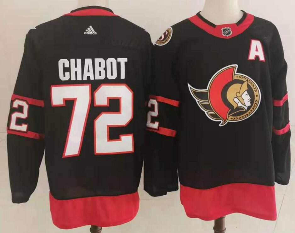 Men's Ottawa Senators #72 Thomas Chabot Black Adidas 2020-21 Stitched NHL Jersey