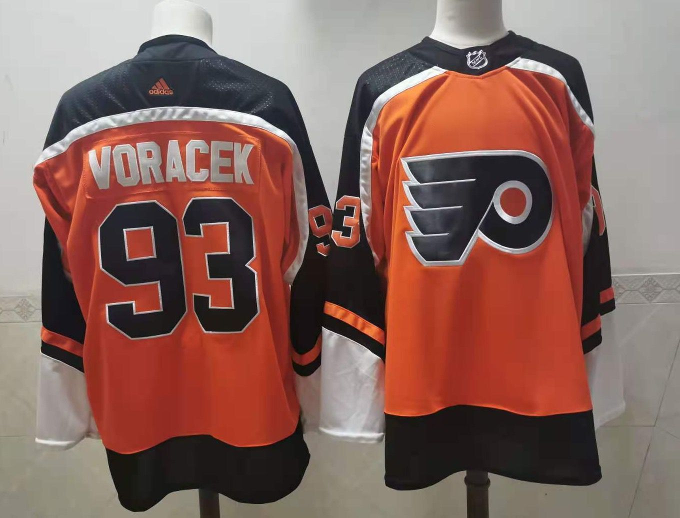Men's Philadelphia Flyers #93 Jakub Voracek Orange Adidas 2020-21 Stitched NHL Jersey