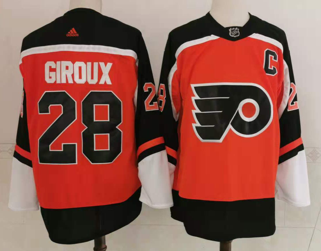 Men's Philadelphia Flyers #28 Claude Giroux Orange Adidas 2020-21 Stitched NHL Jersey