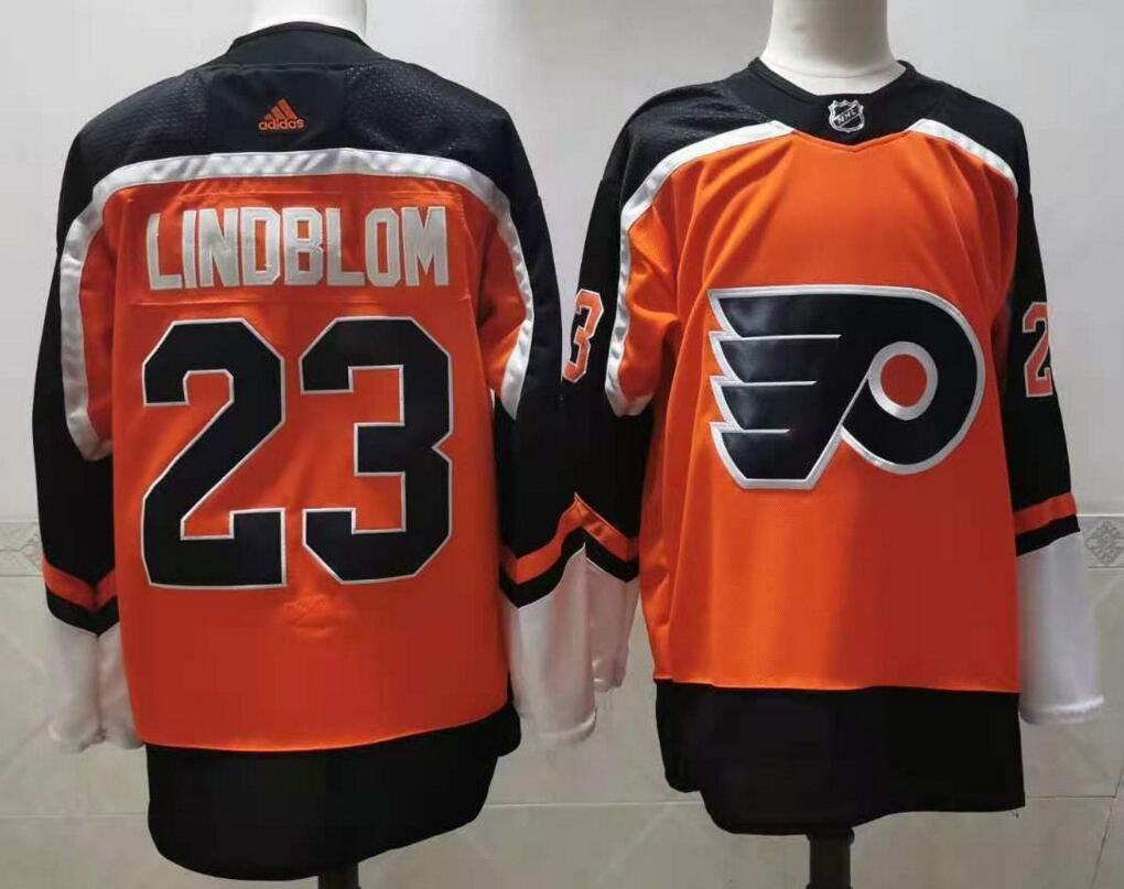 Men's Philadelphia Flyers #23 Oskar Lindblom Orange Adidas 2020-21 Stitched NHL Jersey