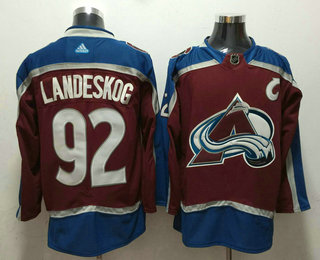 Men's Colorado Avalanche #92 Gabriel Landeskog Red With C Patch 2017-2018 Hockey Stitched NHL Jersey