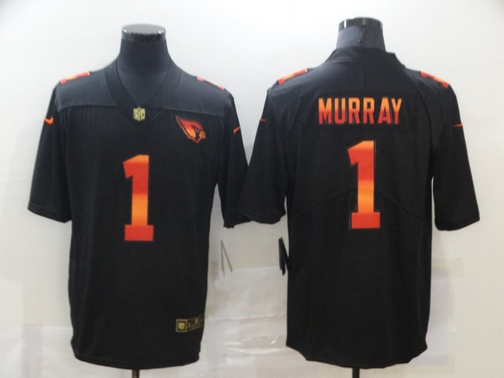 Men's Arizona Cardinals #1 Kyler Murray Black Red Orange Stripe Vapor Limited Nike NFL Jersey