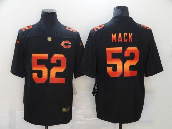 Men's Chicago Bears #52 Khalil Mack Black Red Orange Stripe Vapor Limited Nike NFL Jersey