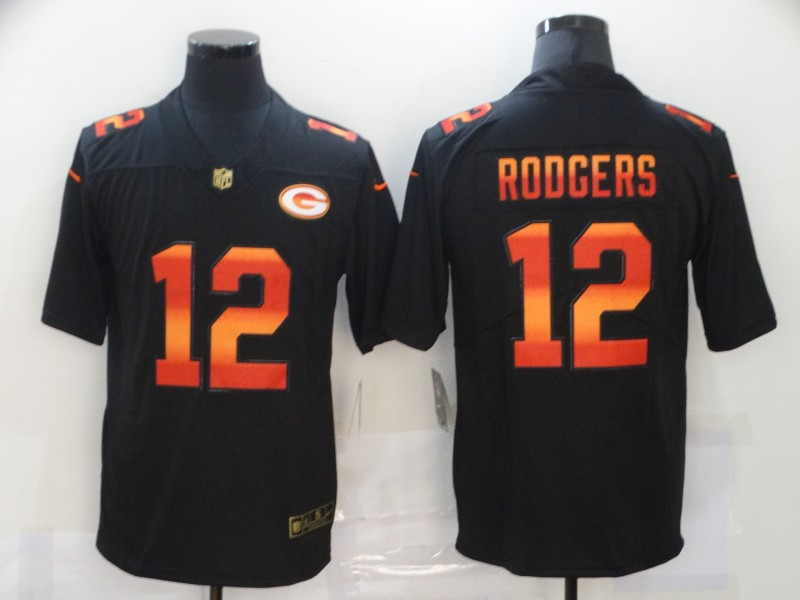 Men's Green Bay Packers #12 Aaron Rodgers Black Red Orange Stripe Vapor Limited Nike NFL Jersey