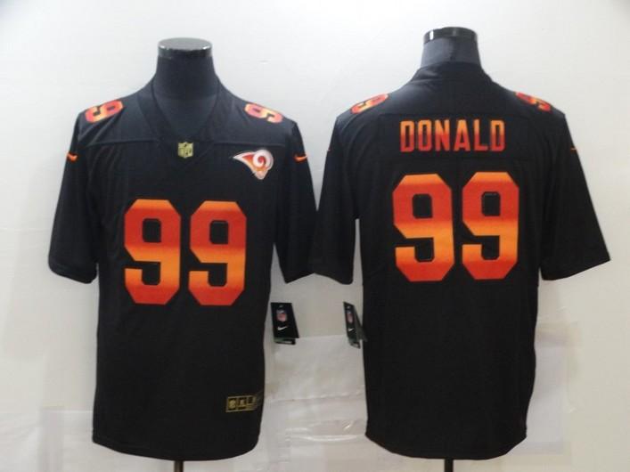 Men's Los Angeles Rams #99 Aaron Donald Black Red Orange Stripe Vapor Limited Nike NFL Jersey