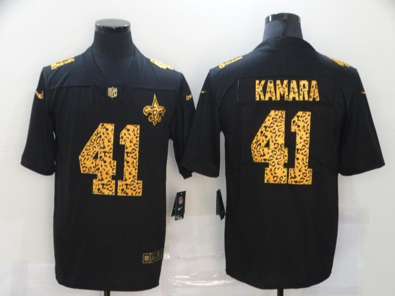 Men's New Orleans Saints #41 Alvin Kamara Black Leopard Print Fashion Vapor Limited Nike NFL Jersey