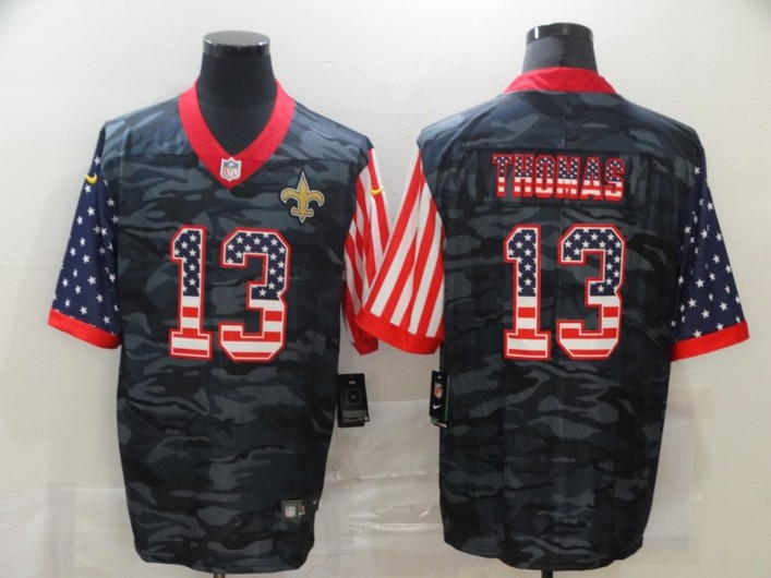 Men's New Orleans Saints #13 Michael Thomas USA Camo 2020 Salute To Service Stitched NFL Nike Limited Jersey