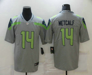 Men's Seattle Seahawks #14 D.K. Metcalf Grey 2019 Inverted Legend Stitched NFL Nike Limited Jersey