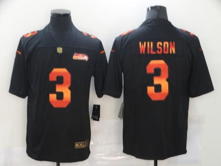 Men's Seattle Seahawks #3 Russell Wilson Black Red Orange Stripe Vapor Limited Nike NFL Jersey