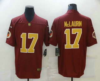 Men's Washington Redskins #17 Terry McLaurin Red With Gold 2017 Vapor Untouchable Stitched NFL Nike Limited Jersey