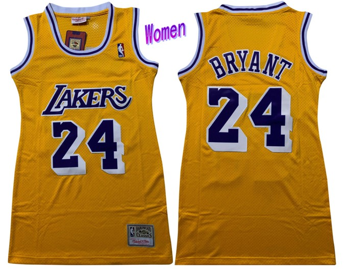 Women's Los Angeles Lakers #24 Kobe Bryant Yellow Hardwood Classics Soul Swingman Throwback Jersey Dress