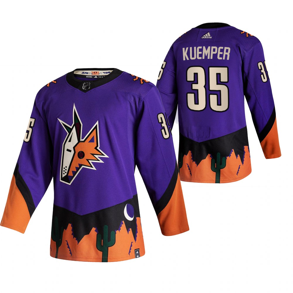 Arizona Coyotes #35 Darcy Kuemper Purple Men's Adidas 2020-21 Reverse Retro Alternate NHL Jersey