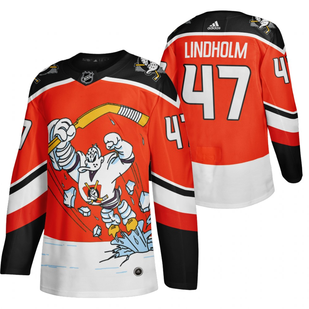 Anaheim Ducks #47 Hampus Lindholm Red Men's Adidas 2020-21 Reverse Retro Alternate NHL Jersey
