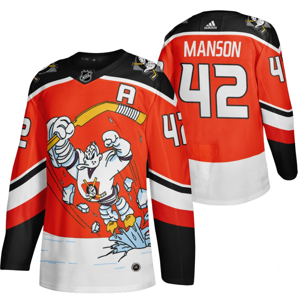 Anaheim Ducks #42 Josh Manson Red Men's Adidas 2020-21 Reverse Retro Alternate NHL Jersey