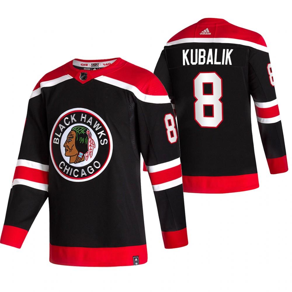 Chicago Blackhawks #8 Dominik Kubalik Black Men's Adidas 2020-21 Reverse Retro Alternate NHL Jersey
