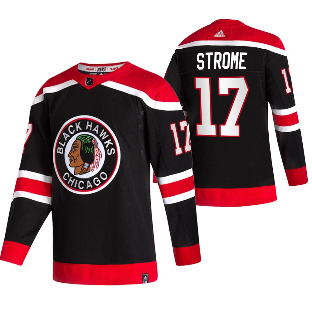 Chicago Blackhawks #17 Dylan Strome Black Men's Adidas 2020-21 Reverse Retro Alternate NHL Jersey