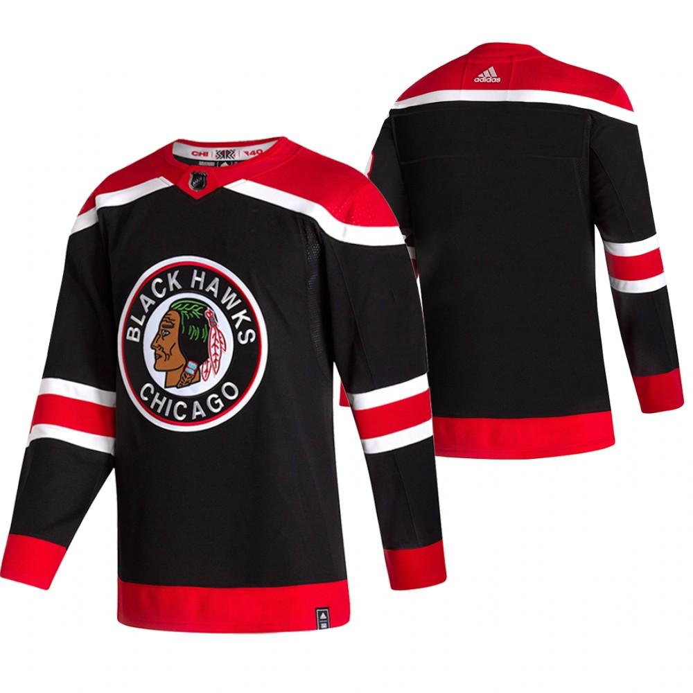 Chicago Blackhawks Blank Black Men's Adidas 2020-21 Reverse Retro Alternate NHL Jersey
