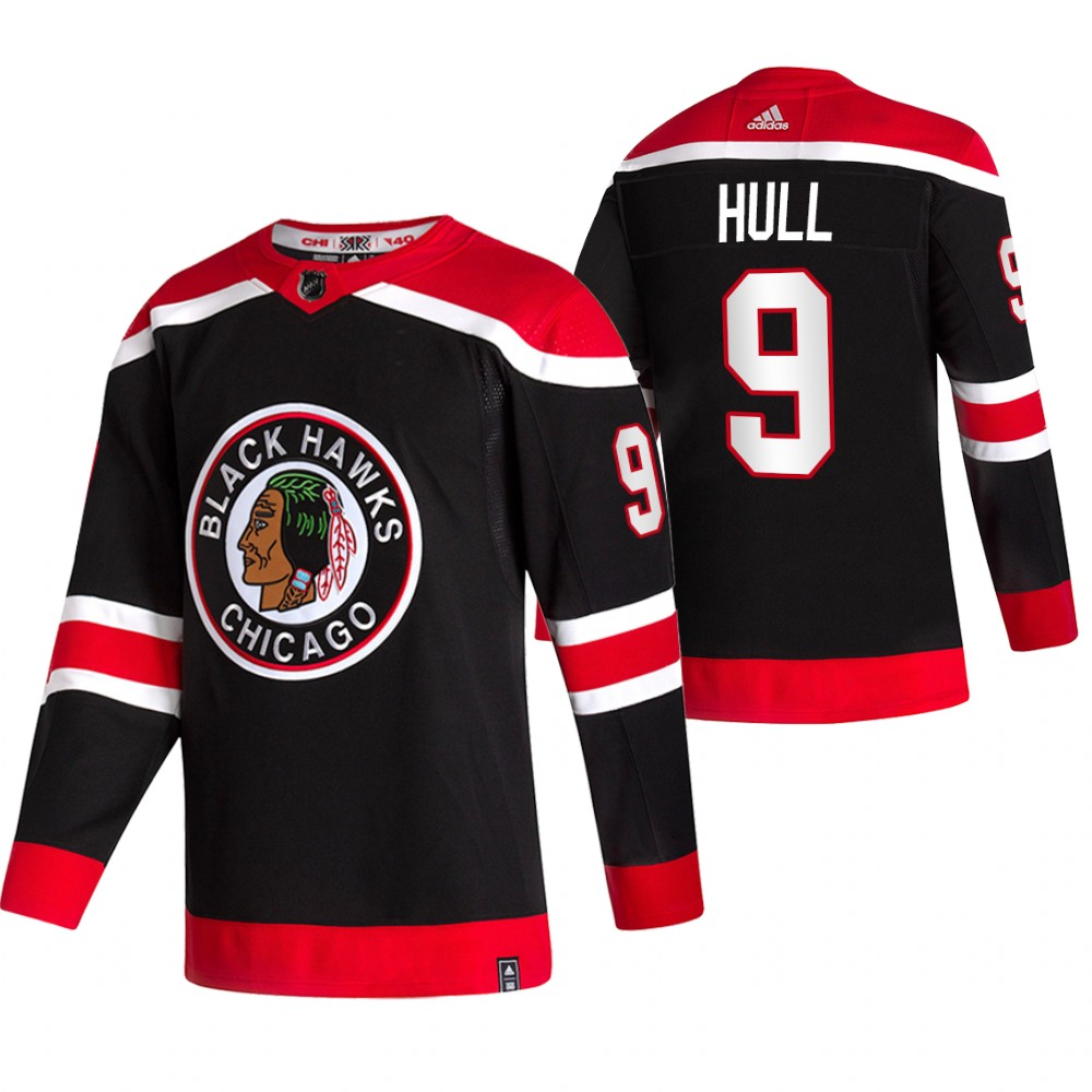 Chicago Blackhawks #9 Bobby Hull Black Men's Adidas 2020-21 Reverse Retro Alternate NHL Jersey