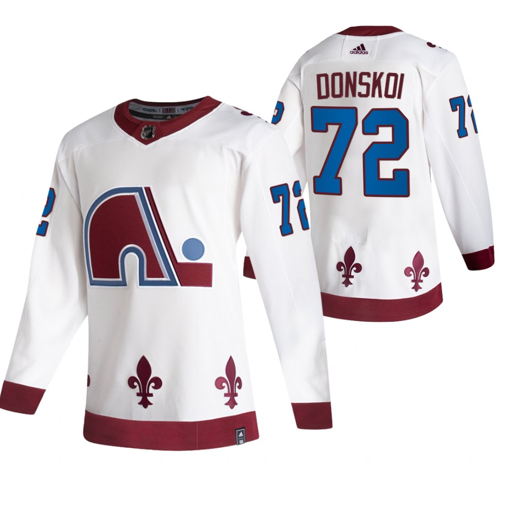 Colorado Avalanche #72 Joonas Donskoi White Men's Adidas 2020-21 Reverse Retro Alternate NHL Jersey