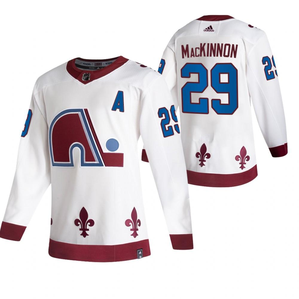 Colorado Avalanche #29 Nathan MacKinnon White Men's Adidas 2020-21 Reverse Retro Alternate NHL Jersey