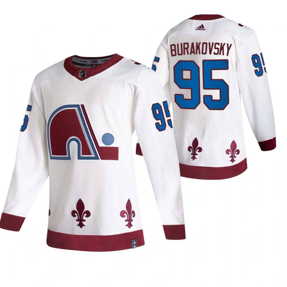 Colorado Avalanche #95 Andre Burakovsky White Men's Adidas 2020-21 Reverse Retro Alternate NHL Jersey