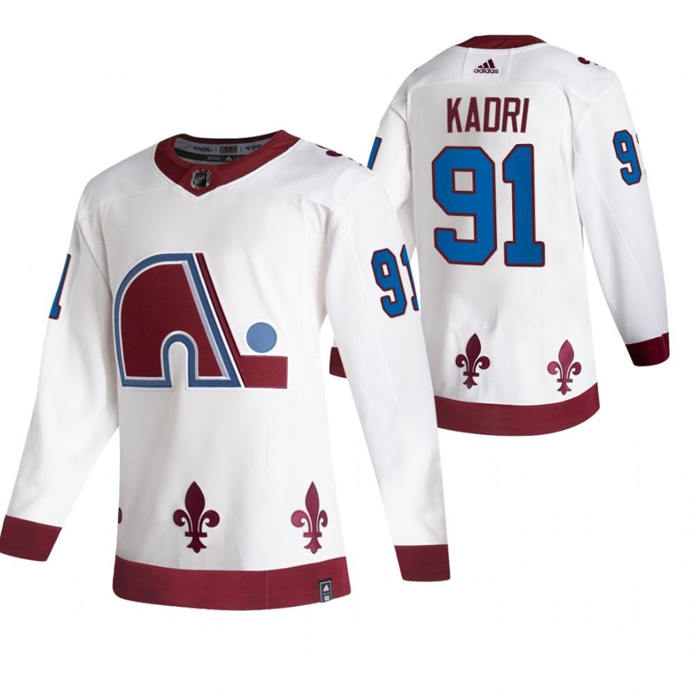 Colorado Avalanche #91 Nazem Kadri White Men's Adidas 2020-21 Reverse Retro Alternate NHL Jersey