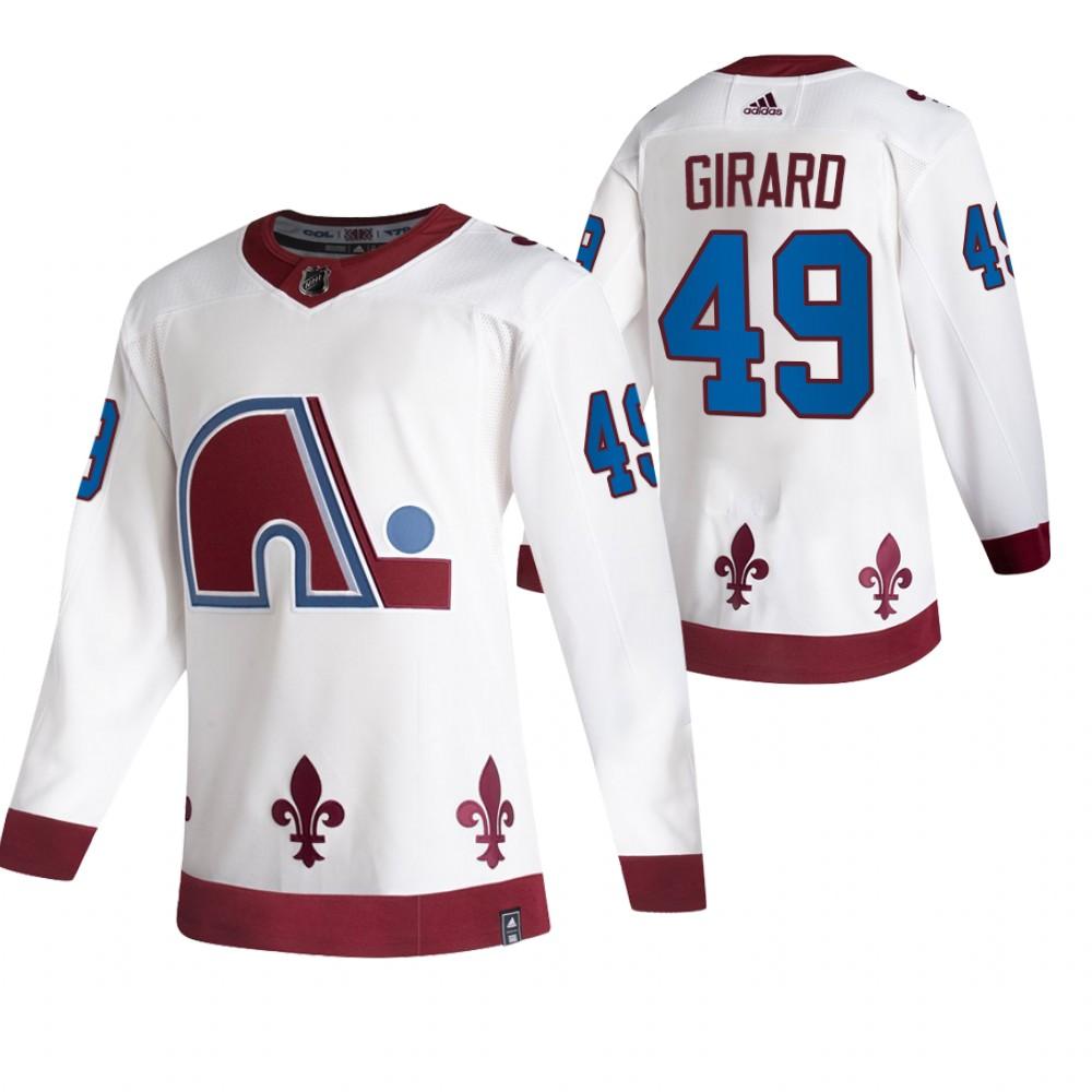 Colorado Avalanche #49 Samuel Girard White Men's Adidas 2020-21 Reverse Retro Alternate NHL Jersey
