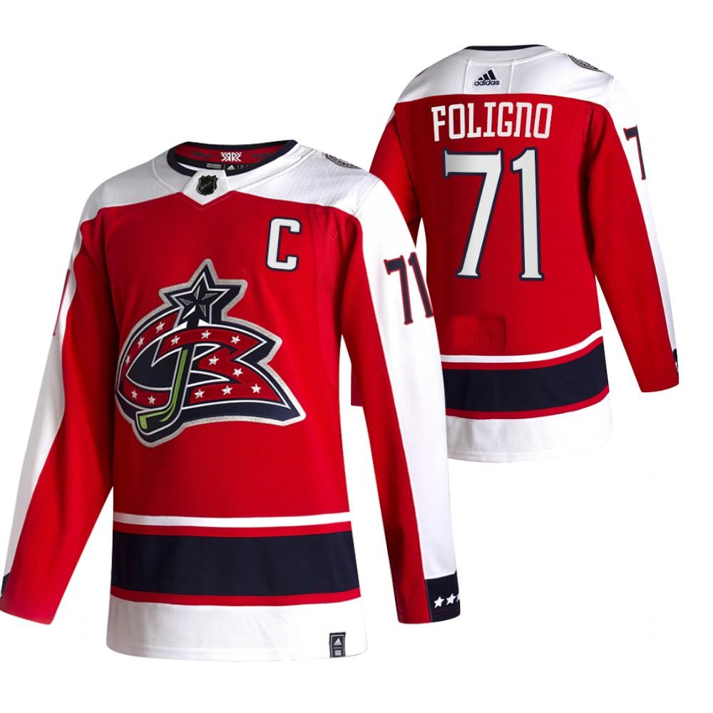 Columbus Blue Jackets #71 Nick Foligno Red Men's Adidas 2020-21 Reverse Retro Alternate NHL Jersey