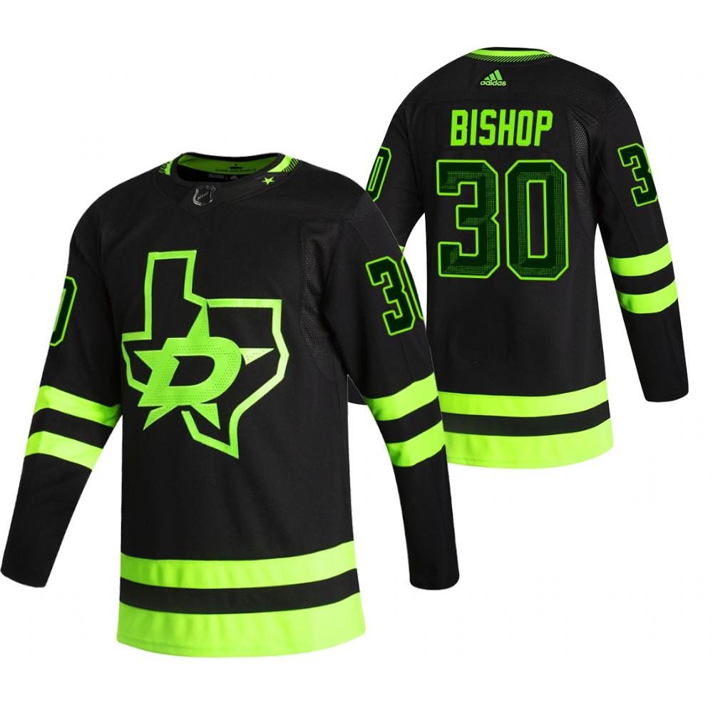 Dallas Stars #30 Ben Bishop Black Men's Adidas 2020-21 Reverse Retro Alternate NHL Jersey