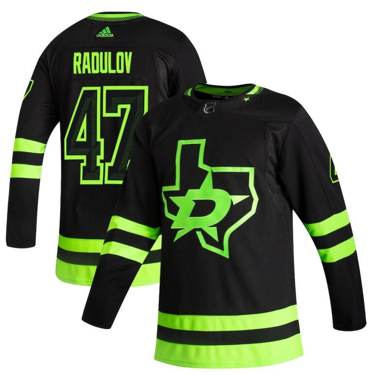Dallas Stars #47 Alexander Radulov Black Men's Adidas 2020-21 Reverse Retro Alternate NHL Jersey
