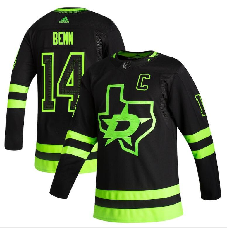Dallas Stars #14 Jamie Benn Black Men's Adidas 2020-21 Reverse Retro Alternate NHL Jersey